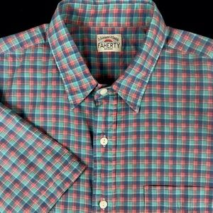 Faherty Mens Green Check Button Front Outdoors